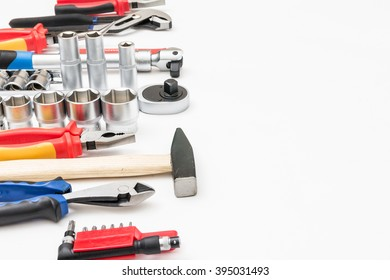 a lots of hardware tools on white background and copyspace