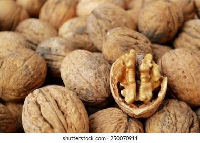 Lots of healthy walnuts in shells