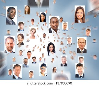 lots of isolated portraits of business people