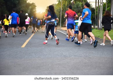 Lots of People  running in ChiangMai Marathon at Royal Park.  The runners, Cheerful, happiness  amidst the beautiful of landscape in early morning., sunshines