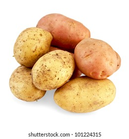 Lots of pink and yellow potatoes isolated on a white background