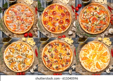 Lots of pizzas on wooden background.