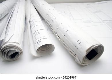 Lots of rolls floor plan drawings.