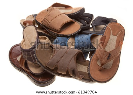 35a022a2a8a11 Lots Sandals Thongs Isolated White Background Stock Photo (Edit Now ...