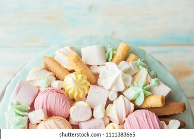 Lots of sweets: macarons, marshmallows, cookies. The view from the top