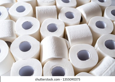 lots of toilet paper rolls. soft hygienic paper. close up