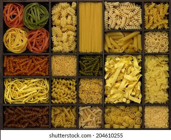 lots of various noodles in a wooden box