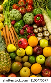 Lots of vegetables and fruits on wooden background. Flat  lay image,