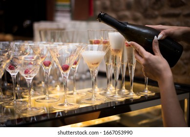 Lots of Wine / Cocktail Glasses at an event or party