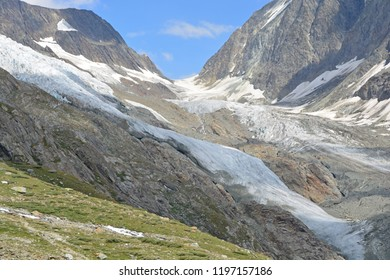 The Lotschenlucke Pass at the head of the Lotschtal Valley and the Langgletscher glacier with the Hollandia Hut above it. In the Bernese Alps, Switzerland