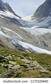 The Lotschenlucke Pass with the Hollandia Hut above it.  In the Bernese Alps, Switzerland