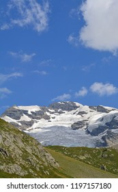 The Lotschtal Breithorn in the Swiss Bernese Alps, with its wide glaciers, viewed from the South