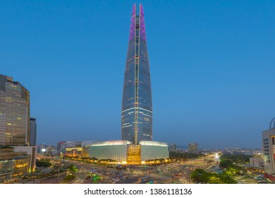 Lotte tower-May 1, 2019. Lotte tower and traffic at jamsil in seoul,South Kore