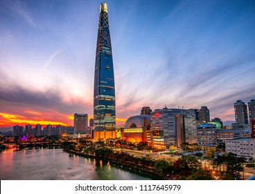 Lotte world mall in evening at seoul korea:10 may 2018 seoul korea