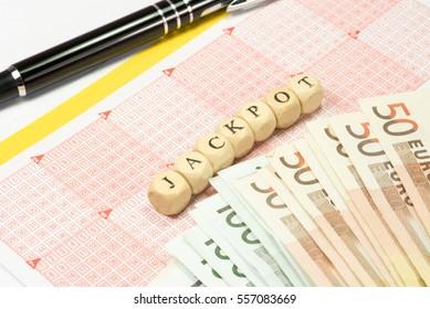 Lottery ticket,  money and jackpot