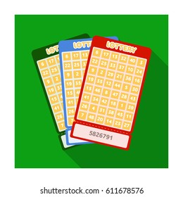 Lottery tickets. Chance to win the jackpot. Gambling in the casino. Casino single icon in flat style bitmap symbol stock illustration.