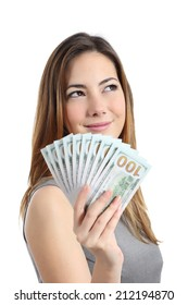 Lottery winner woman thinking what to do with money isolated on a white background