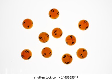 Lotto balls with bumber on white background for online casino concept