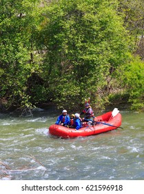 LOTTUS, CALIFORNIA, USA - APR 15, 2017: White water rafting on the rapids of american river in Sacramento region.