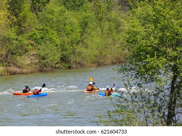 LOTTUS, CALIFORNIA, USA - APR 15, 2017: White water kayaking on the rapids of american river in Sacramento region.