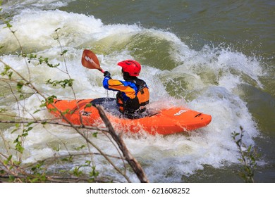 LOTTUS, CALIFORNIA, USA - APR 15, 2017: White water kayaking on the rapids of american river in Sacramento region.