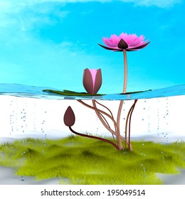 Lotus 3d rendering in background abstract.