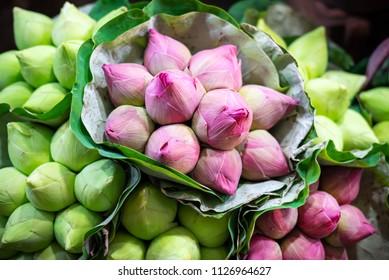 lotus flower buds bouquet sale in Thai flowers market
