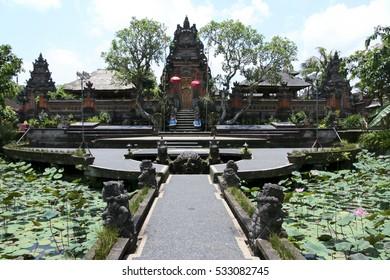 lotus flower ponds in the beautiful grounds of the Saraswati hindu temple ubud bali indonesia