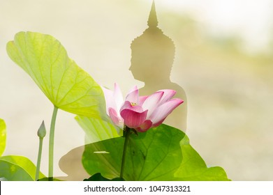 The lotus flower and silhouette buddha meditation statue. Buddhism is popular in  thai people so many culture of Thailand involved buddha.