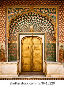 Lotus gate door in pink city at City Palace of Jaipur, India