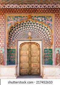 The Lotus Gate in Pitam Niwas Chowk, Jaipur City Palace, India