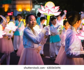 Lotus lantern festival parade in Seoul, South Korea. 29 APR 2017.