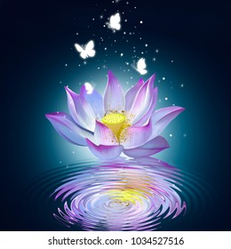 Lotus on the water creates ripples on the water, surrounded by butterflies and small bright stars