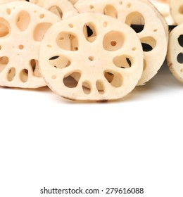 Lotus root on the white background