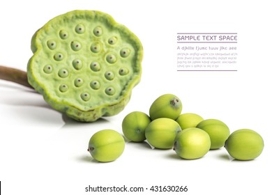 lotus seeds close up on white background