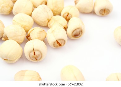 The lotus seeds on white background