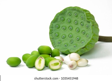Lotus seeds on white isolate background