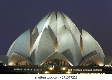 Lotus Temple on September 25,2011:Delhi.Bahai House of Worship,also called Lotus Temple was completed in 1986.