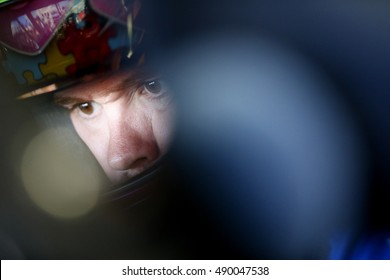 Loudon, NH - Sep 24, 2016: Ricky Stenhouse Jr. (17) hangs out in the garage during practice for the Bad Boy Off Road 300 at the New Hampshire Motor Speedway in Loudon, NH.