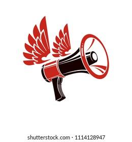 Loudspeaker illustration isolated on white. Misleading and brainwashing information, fake news concept