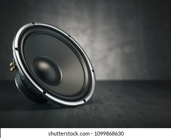 Loudspeaker.  Multimedia acoustic sound speaker on black background. 3d illustration