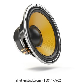 Loudspeaker.  Multimedia acoustic sound speaker isolated on white  background. 3d illustration