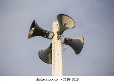 Loudspeaker tower, 4 horn speakers.