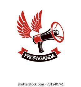 Loudspeaker winged logo isolated on white. Misleading and brainwashing information, hoax and fiction