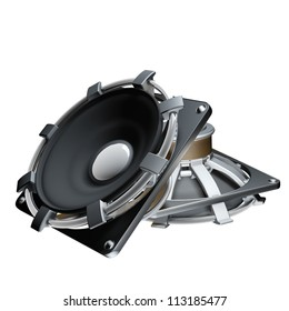 Loudspeakers isolated on white background High resolution 3d render