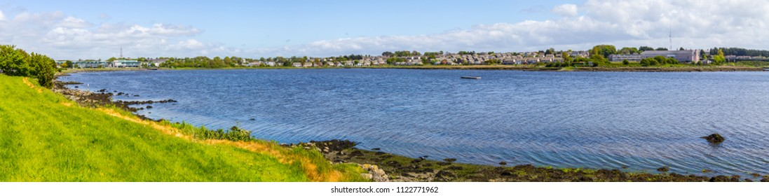 Lough Atalia bay with houses in background, Galway, Ireland
