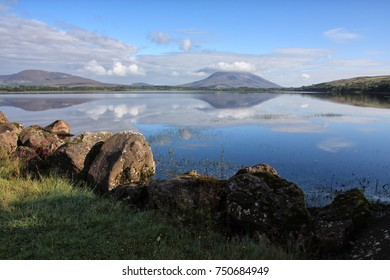 lough conn with nephin mountain reflection in lake