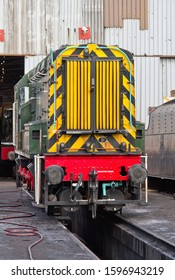 LOUGHBOROUGH, LEICESTERSHIRE, UK - FEBRUARY 1, 2015: British Railways 1955 Derby built Class 08 No. 13101 stands outside the engine shed at Loughborough Yard during the GCR's Winter Steam Gala.