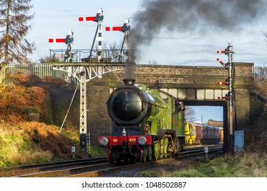 LOUGHBOROUGH, LEICESTERSHIRE, UK - JANUARY 28, 2018: Steam locomotive LNER B12 Class 4-6-0 No. 8572 repositions at Loughborough during the Great Central Railway's  Winter Steam Gala.