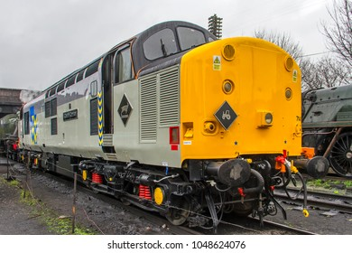 LOUGHBOROUGH, LEICESTERSHIRE, UK - JUNE 3, 2017: Diesel electric locomotive Class 37 No. 37714 stands in Loughborough Yard during the Great Central Railway's  Spring Diesel Gala.